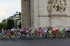 Bike riders. Final circle. Tour de France, Paris, France. Sport competitions. Bicycle peloton. Royalty Free Stock Photography