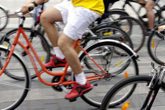 Bike riders on the street Stock Photo