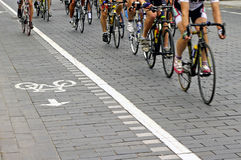 Bike riders on the street Royalty Free Stock Photo