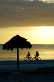 Bike riding couple on Fort Myers Beach. At sunset Royalty Free Stock Images