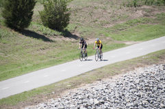 Bike riding on the Oklahoma River Trail Royalty Free Stock Images