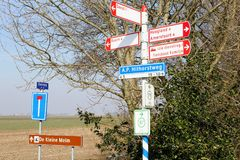 Bike riding route signs rural landscape, Netherlands Royalty Free Stock Photography