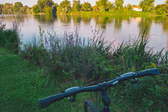 Bike on the river Royalty Free Stock Image