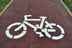 Bike road. Sign on a empty bike path Royalty Free Stock Images