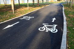 BIKE ROAD. Sign on a empty bike path in china Stock Photography