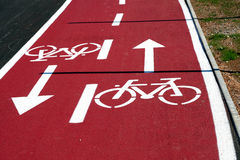 Bike road. Road for bikers and street traffic Royalty Free Stock Image