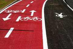Bike road. Road for bikers and street traffic Royalty Free Stock Photography