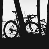 Bike on road in city park. Cycle closeup wheel on blurred light royalty free stock images