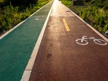 Bike road in the park for healthy lifestyle royalty free stock photos