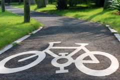 Bike road sign. A dedicated lane for the bike Stock Images
