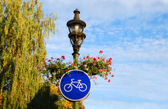Bike road sign. In Kaunas city. Travel Lithuania, Europe Royalty Free Stock Images