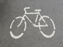 Bike road sign. Painted bike road sign, can use as background Stock Image