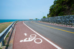 Bike road and sign. For background or advertisement Royalty Free Stock Photo