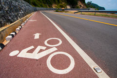 Bike road and sign. For background or advertisement Royalty Free Stock Images