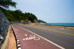 Bike road sign. Bikr road sign with sea view Royalty Free Stock Photo
