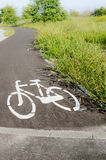 Bike road sign. Painted symbol Stock Images