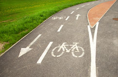 Bike road sign. Safety and careful bike signs Stock Photos