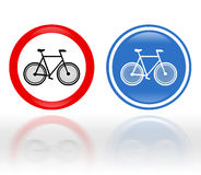 Bike road signs. Traffic signs with bike symbols: Bikes are allowed or prohibited. Symbols with reflection isolated over white Stock Images