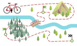 Bike route map. Cycling trip road, country path. Bike adventure tour vector map. Illustration of adventure travel mountain and forest vector illustration