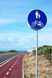 Bike route sign. Bike and walking route sign Stock Photography