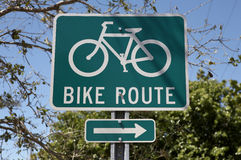 Bike route sign Stock Image