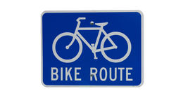 Bike route sign isolated Stock Photos