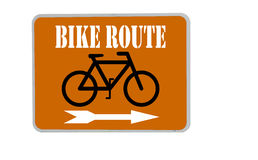 Bike route sign on orange background Stock Image
