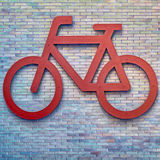 Bike route sign. Bike route urban sign on brick wall, square toned image Stock Photos