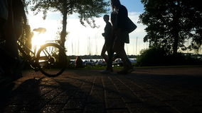 Bike run people park sun sport. People enjoying outdoors activities. The park is the most visited urban park stock footage