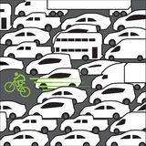 Bike at rush hour. Vector  background Stock Photos