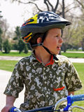 Bike safety. Child in helmut Royalty Free Stock Photos