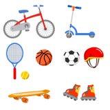 Bike scooter skate helmet ball basket tennis ball. Bike scooter skate helmet ball basket tennis royalty free illustration