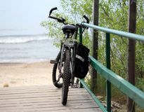 Bike by path to the Sea. Bike by the Baltic Sea, Poland Royalty Free Stock Photo