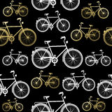 Bike seamless pattern bicycle gold concept Royalty Free Stock Photo