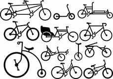 Bike set silhouette. Vector illustrations. Stamp. Black silhouette of a bike on a white background. Bikes to suit different tastes royalty free illustration
