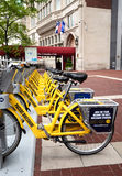 Bike Share Indianapolis long view Royalty Free Stock Image