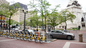 Bike Share Indianapolis with monument Stock Image