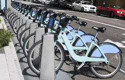 Bike Share Rack. Urban bike rental and bike share rack royalty free stock photography