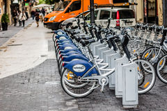 Rental bicycles in Valencia, Spain Royalty Free Stock Photography