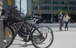 Bike Share Toronto sidewalk view Royalty Free Stock Photography