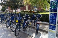 Bike sharing, Krakow square Royalty Free Stock Photo