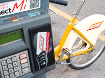 Bike sharing, Milan Royalty Free Stock Photography