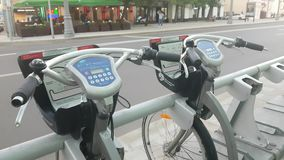 Bike in sharing parking lot. May 21, 2018, Moscow, Russia: Bike in sharing parking lot. New sharing business project started 19 of may 2016 in Moscow stock video