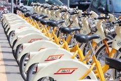 Bike sharing service racks in Milan Stock Photos