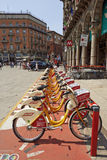 Bike sharing station at The Duomo Piazza in Milan Stock Image