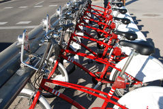 Bike sharing station. Rack of bicycles ready for bike sharing Stock Images