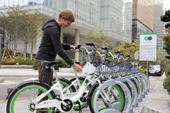 Bike Sharing System in Seoul stock photo