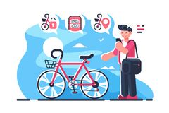 Bike sharing system station on city street. Boy holding smartphone with open mobile app and locates closest public bicycle rental flat concept vector stock illustration