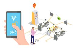 Bike sharing system vector concept for web banner, website page. Vector isometric docking station with bicycles available for rent, payment terminal and man vector illustration