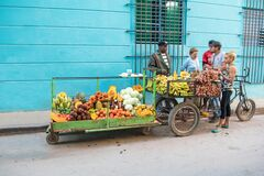 Bike is shop for fruits and vegetables on wheels in Havana, Cuba
